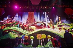 One of the amazing stage sets - this one from Charlie & the Chocolate Factory. Others include Alice in Wonderland and Harry Potter Wonka Chocolate Factory, Charlie Chocolate Factory, Willy Wonka, Chocolates, Candy Cart, Stage Design, Set Design, Design Ideas, Fun Fair