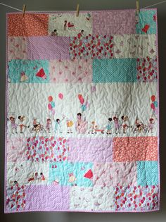 Baby Girl Quilt- Sarah Jane Quilt-Children At Play Quilt- Girl Quilt- Pink, Lilac, Aqua-Girl Nursery Bedding-Homemade Quilt- Whimsical Sweet