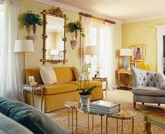 Beachnut Lane: Soft yellows from Benjamin Moore~ Hawthorne Yellow, Weston Flax, Concord Ivory! Interior Design Pictures, Room Interior Design, Hawthorne Yellow, Dallas, Dining Room Paint, Home Decor Quotes, Living Room Pictures, Formal Living Rooms, Living Room Inspiration