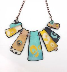 Polymer clay necklace. - Unique organic shape. - Length from top to bottom: 28 cm. - The ring through which the T-bar is secured, is on the right side of the necklace. ........................................................................................................ Visit my shop