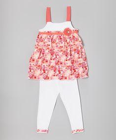 Pink & White Floral Tunic & Leggings - Infant, Toddler & Girls