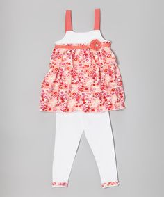Pink & White Floral Tunic & Leggings - Infant, Toddler & Girls