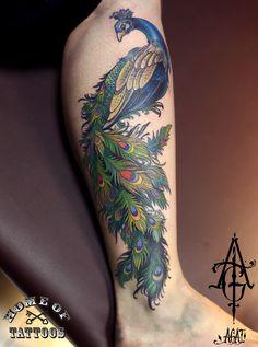 Custom work, about 5h, hope you like it) tattoo, art, peacock, peacock tattoo, bird tattoo, bird, leg tattoo