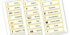 Egyptian Word Bank - The Ancient Egyptians Primary Resources, Ancient Egyptian, Egypt