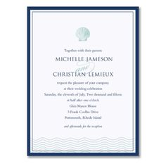Navy Bordered Ocean Wave Bright White Wedding Invitation, Truly by William Arthur