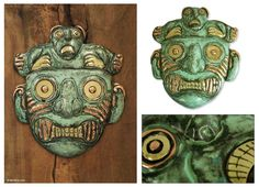 'Chavin Personage' Angel Franco works in the style of the Chavin people, the oldest civilization of Peru dating from around 400 B.C. Heralded for their knowledge of metallurgy and textiles, their art expressed religious undertones. The artisan depicts a Chavin mask with their traditional animal iconography.