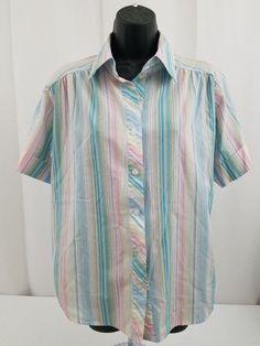 c163663c7d3e90 BonWorth women top blouse size SP small petite blue pink yellow white Free  Shipp  BonWorth  Blouse