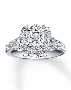 14kw 2-1/2cttw Cushion Cut Bridal Set-940233900 by Neil Lane // More from Neil Lane: http://www.theknot.com/gallery/wedding-rings/Neil Lane