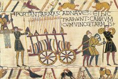 Portion of Bayeux Tapestry, which chronicles the events from before the Norman conquest of England to the Battle of Hastings and defeat of the Anglo-Saxon king, Harold II.  It is widely believed to have been commissioned by Bishop Odo, the half-brother of William the Conqueror, in the 1070s and sewn by Anglo-Saxon seamsters but different theories exist regarding its origins.  It is currently housed in a museum in Bayeux, Normandy, France.