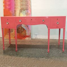 Pink Lacquered Desk $1450........We offer a wide variety of furniture and accessories. We are located in the Dallas Design District. We can ship to any location in the US. visit us at www.againandagain.com  www.facebook.com/againdesign