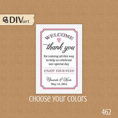"""PRINTABLE 2x3"""" Welcome Bag Tag, Wedding Favor Tags, Hang Tags, Thank You Tags - welcome, pink and gray or any colors by DIVart, $8.00"""