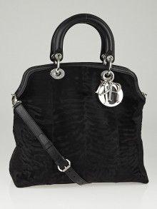 aab2062a03578 Christian Dior的黑色质感貂皮和小马毛威手提包 Pony Hair