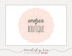 Pink Lace Doily Premade Logo Design For Photographers and Small Business Use