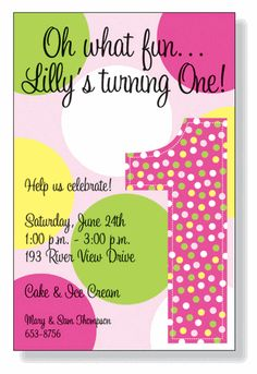 possible Invitation for Lilly's 1st birthday