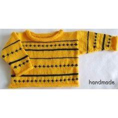 Dětský světřík ručně pletený žlutomodrý vel. 1 - 2 roky