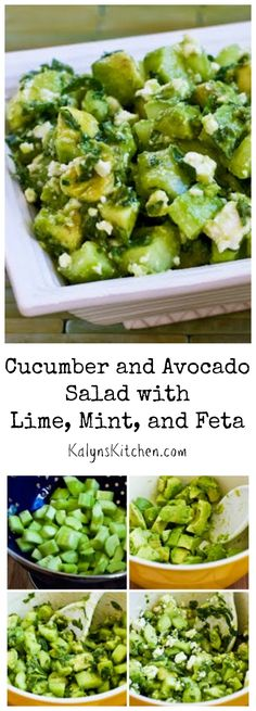 There's a lot of summer goodness in this Cucumber and Avocado Salad with Lime, Mint, and Feta.  Whether you make it as a side dish for a summer holiday party, or just for a treat for family dinner, I promise this salad will be a hit. #LowCarb #GlutenFree #SummerFood [from KalynsKitchen.com]