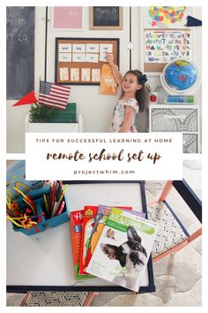 How to Set up a learning environment for Remote School. Home School Organization Ideas. Remote Learning Set Up. Classroom Set Up at Home. Organization Tips and Ideas for Kids School Stuff. School Organization for Kids. Successful Learning at Home Tips. Kids School Organization, Learning Organization, Organization Ideas, Homeschool Kindergarten, Preschool Classroom, Elementary Teaching, Homeschooling, Home Learning, Learning Spaces