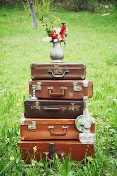 vintage suitcases decorating