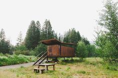 The Rolling Huts in Methow Valley, Washington, USA.  Designed as a modern alternative to camping by Tom Kundig of Olson Kundig Architects, the Rolling Huts are grouped as a herd, each with a view of the surrounding Cascade Mountains.