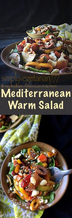 Mediterranean Warm Salad is a perfect winter salad! It is a complete and delicious meal in itself. #salad #mediterranenrecipes #winterrecipes #lightmeal #easyrecipes