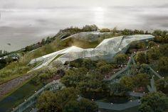 glass futuristic greenhouse arcology