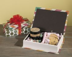 Book boxes make fantastic no-wrap gift boxes! Fill them with candy or skin care products, put a bow on top, and you're ready to give. Pictured: from O Magazine's Oprah's Favorite Things 2015 - Confetti Book Boxes by IMAX