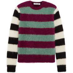 Max Mara Max Mara - Striped Mohair-blend Sweater - Plum (£245) ❤ liked on Polyvore featuring tops, sweaters, graphic tops, purple striped top, purple top, stripe top and multi colored sweater