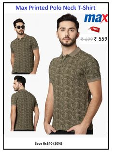 #Max #Printed #Polo #Neck #T-Shirt  #Design : Printed #Price: ₹559.00 #Fit : Slim #Style : Casual #Fabric : Cotton Polo Tees, Green Print, Neck T Shirt, Slim, Printed, Fitness, Casual, Fabric, Mens Tops