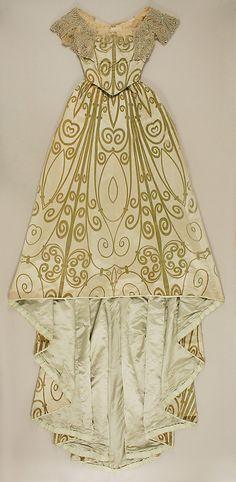 Ensemble (a, b) House of Worth  (French, 1858–1956)  Designer: (c, d) J. & J. Slater (American) Date: 1898–1900 Culture: French Medium: (a, b) silk, simulated pearls, rhinestones (c, d) silk, wood, metal, rhinestones. Front