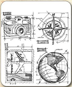 The Travel Blueprint Cling Mounted Rubber Stamps are by Tim Holtz for Stampers Anonymous. The four stamps (camera, compass rose, air mail stamp, and globe) Tim Holtz Stamps, Digi Stamps, Tatouage Plumeria, To Do Planner, Distress Markers, Stencils, Stampers Anonymous, Tampons, Copics