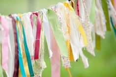 fabric pennant strips.   Different shades and patterns of pink for Pyper's room