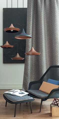 Casadeco Bleu Noir curtain fabric - made to measure curtains from Norwich Sunblinds.