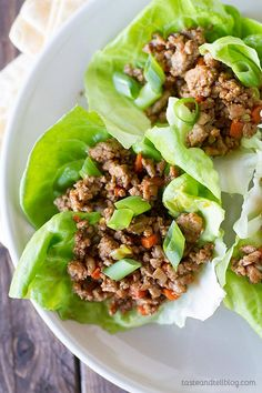 Recipe for Asian Chicken Lettuce Wraps - an easy and healthy dinner that is ready in under 30 minutes!