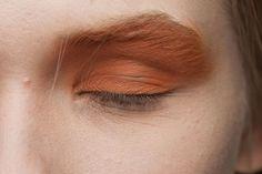 maquiagem conceito dos olhos com sombra marrom alaranjada, quase cor de telha