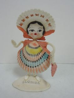 Vintage Hand Painted Sea Shell Doll -Florida Souvenir