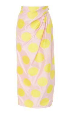 Shop Polka Dot Wrap Skirt. This **Carolina Herrera** skirt features a high waist, faux wrap design, and midi length.