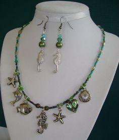Seahorse Star Fish Abalone Heart Charm NECKLACE  by MyGrandmasHome, $17.95
