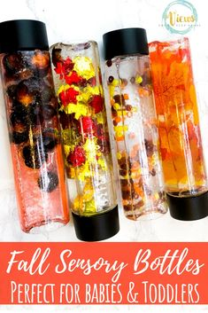 4 Fall Sensory Bottles for Babies and Toddlers These Fall sensory bottles contain leaves, acorns and pony beads to create visual and tactile sensory bottles for kids. Great for babies and toddlers.