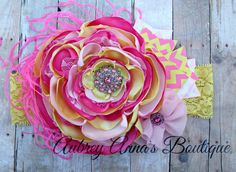 Pink Lemonade, Summer, Pink and Yellow, OTT, Couture, Singed Satin Flower, Satin Flower Headband, Photo Prop, Photography