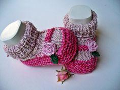 Babyschuhe Babyschühchen 2in1 Rose von diestrickerin auf Etsy, $15,00