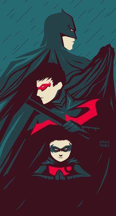 Batman, Nightwing, and Robin