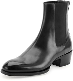 $1,039, Tom Ford Chelsea Boot With Western Heel Black. Sold by Neiman Marcus. Click for more info: https://lookastic.com/men/shop_items/197717/redirect