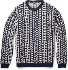 Raf Simons patterned sweater. Love the vertical patterning.