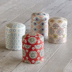 BOHEME CANISTERS, SET OF 4 - A longtime favorite Sundance offering, ceramic canisters that celebrate variety being the spice of life with a mismatched medley of medallion and floral patterns and colors.
