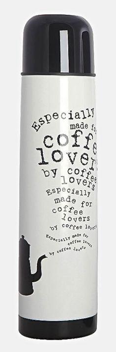 House Doctor thermoskan koffie, 8x33cm , zwart/wit