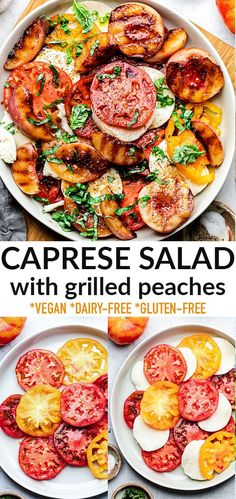This Caprese Salad is light refreshing and easy to make with juicy heirloom tomatoes, grilled peaches, garden basil, vegan mozzarella topped with balsamic dressing. It's the perfect healthy lunch or light dinner for using up some fresh summer produce. Naturally gluten-free, grain-free, low carb and dairy-free. Fresh Salad Recipes, Healthy Salad Recipes, Veggie Recipes, Lunch Recipes, Summer Recipes, Bhg Recipes, Grilling Recipes, Free Recipes, Easy Salads