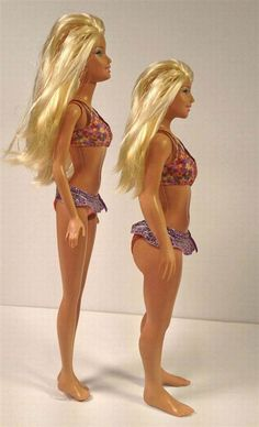 Classic Barbie, and an artist-made Barbie that used the CDC measurement averages for 19 year old women...explains a lot