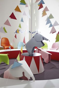 Vitra Eames Elephants by Charles & Ray Eames, Panton Chair, Charles Ray Eames, Elephant Party, White Spirit, Deco Design, Baby Kind, Kid Spaces, Kids Decor, Kids Furniture