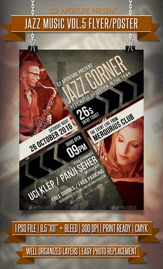 Jazz Music Flyer / Poster Template PSD #design Download: http://graphicriver.net/item/jazz-music-flyer-poster-vol5/13069918?ref=ksioks