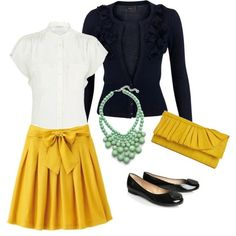 Possible color scheme- mint, navy, mustard yellow, black